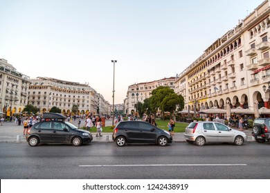 Thessaloniki, Greece- July 22, 2018: Aristotelous Square in Thessaloniki, the second largest city of Greece located on the northern coast of the Aegean Sea.