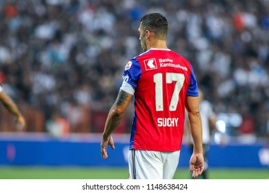 Thessaloniki, Greece - July 24, 2018: Player of Basel Marek Suchy in action during the UEFA Champions League Second qualifying round , 1st  match between PAOK vs Basel played at Toumba Stadium