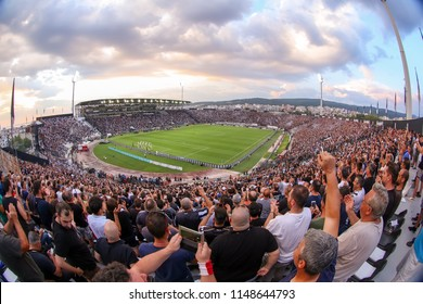 Thessaloniki, Greece - July 24, 2018: View of the full stadium behind fans  during the UEFA Champions League Second qualifying round , 1st  match between PAOK vs Basel played at Toumba Stadium