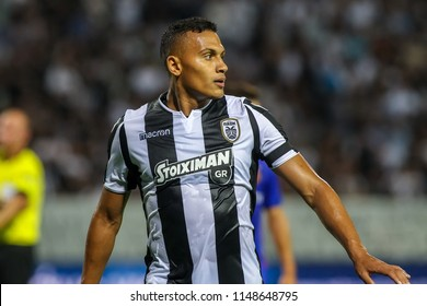 Thessaloniki, Greece - July 24, 2018: Player of PAOK Leo Jaba in action during the UEFA Champions League Second qualifying round , 1st  match between PAOK vs Basel played at Toumba Stadium