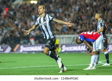 Thessaloniki, Greece - July 24, 2018: Player of PAOK Aleksandar Prijovic in action during the UEFA Champions League Second qualifying round , 1st  match between PAOK vs Basel played at Toumba Stadium