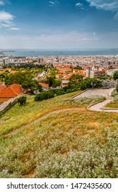 Thessaloniki, Greece- July 24, 2018: Aerial view of Thessaloniki from the ancient walls of the castle and Trigonion Tower in the old city Ano Poli.