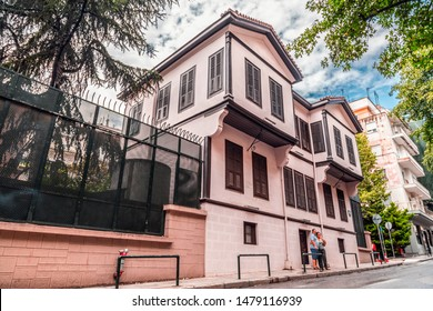 Thessaloniki, Greece - July 24, 2018: Exterior view of Ataturk Residence where Mustafa Kemal Ataturk, founder of Turkish Republic was born. His home is now a museum in Thessaloniki.