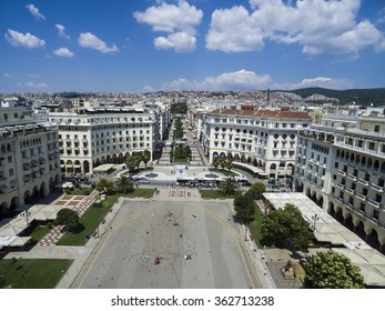 Thessaloniki, Greece, July 7 2015: Aerial view of Aristotelous Square in Thessaloniki, Greece