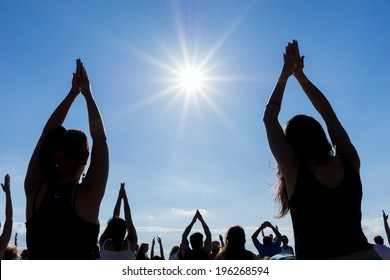 THESSALONIKI, GREECE - JUNE 1 , 2014 : Thessaloniki open yoga day. People gathered to perform yoga training during the day, outdoor activities