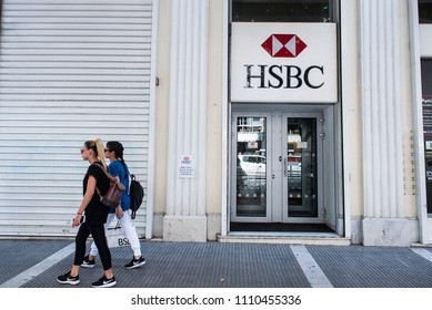 Thessaloniki, Greece - June 11, 2018. The Logo of HSBC Bank at the entrance of a Bank Branch.