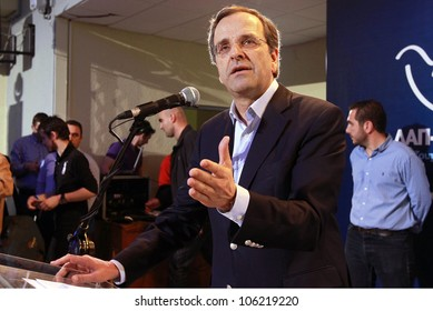 THESSALONIKI, GREECE - JUNE 14: Leader of New Democracy Antonis Samaras speaks during a concentration pre-election in Thessaloniki on June 14, 2012 in Thessaloniki, Greece.