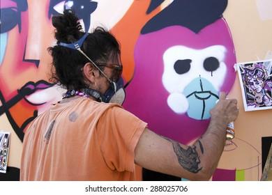 THESSALONIKI, GREECE JUNE, 15 2015: Painters graffiti during the course of Street Art Festival Thessaloniki