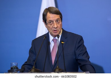 Thessaloniki, Greece - June 15, 2017: Cypriot President N Anastasiades during the Trilateral Greece - Cyprus - Israel summit with the participation of the Greek and the Israeli Prime Ministers