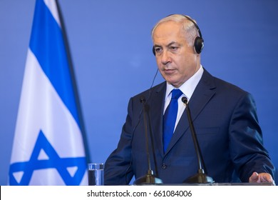 Thessaloniki, Greece - June 15, 2017: Israeli Prime Minister B. Netanyahu during the Trilateral Greece - Cyprus - Israel summit with the participation of the Greek Prime Minister and Cypriot President