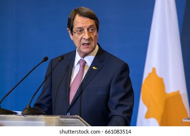 Thessaloniki, Greece - June 15, 2017:Cypriot President N Anastasiades during the Trilateral Greece - Cyprus - Israel summit with the participation of the Greek and the Israeli Prime Ministers