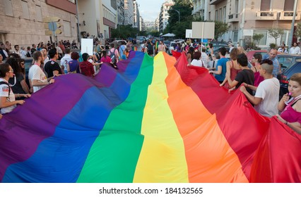 THESSALONIKI, GREECE - JUNE 15: Unidentified participants taking part to the second gay pride parade through the city on June 15, 2013 in Thessaloniki, Greece.