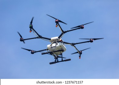 Thessaloniki, Greece - June 21, 2018: Professional agriculture drone on the green field during the test flight
