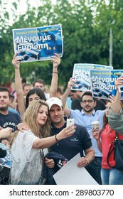 THESSALONIKI, GREECE - JUNE 22, 2015: WE STAY IN EUROPE protest. Citizens gathered around the White Tower in Thessaloniki to express their support for Greeceâ??s staying in united Europe.