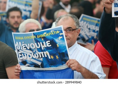 THESSALONIKI, GREECE - JUNE 22, 2015: WE STAY IN EUROPE protest. Citizens gathered around the White Tower in Thessaloniki to express their support for Greece's staying in united Europe.