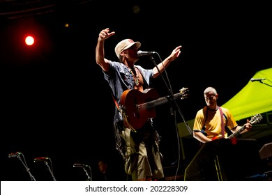 THESSALONIKI, GREECE- JUNE 23, 2014: Concert of the band Manu Chao La Ventura performing live at the Harbor of Thessaloniki, Greece.