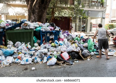 Thessaloniki, Greece - June 28, 2017: The streets of Thessaloniki are filled with rubbish due to workers' strike in garbage collection