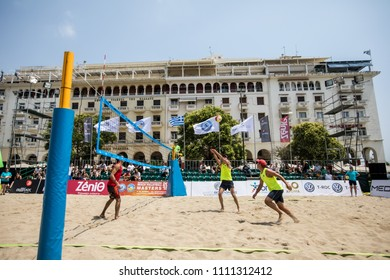 Thessaloniki - Greece June 8, 2018: Undefined player in action during the Hellenic championship Beach Volley Masters 2018 at Aristotelous square.