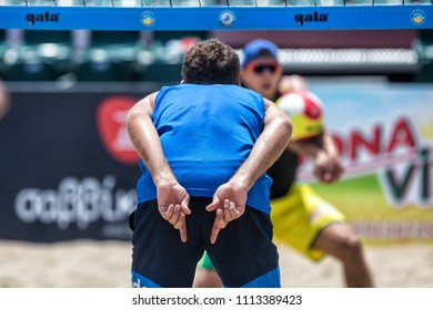 Thessaloniki - Greece June 8, 2018:close up of man hands showing beach volleyball hand sign meaning angle attack block during the Hellenic championship Beach Volley Masters 2018 at Aristotelous square