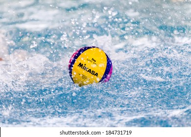 THESSALONIKI, GREECE MAR 22, 2014 : A water polo ball floating on the water in a pool during the Greek League water polo game PAOK vs Vouliagmeni on March 22, 2014.