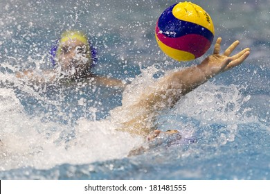 THESSALONIKI, GREECE MAR 5, 2014 : A player of PAOK in action during the Greek League water polo game PAOK vs Nereas on March 5, 2014.