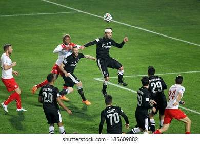 THESSALONIKI, GREECE MAR 9, 2014 : Tzavellas of PAOK in action during the Greek Superleague match PAOK vs Olympiacos on March 9, 2014