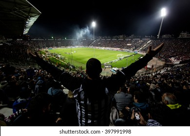 Thessaloniki, Greece - March 02, 2016: View of the Toumba Stadium full of fans of PAOK during the semifinal Greek Cup game between PAOK and Olympiacos played at Toumba stadium