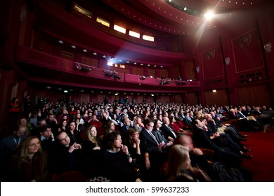 Thessaloniki, Greece - March 11, 2016: Spectators watching in the cinema during the 19th international Thessaloniki Documentary Festival at Olympion Cinema
