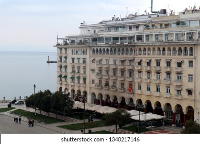 Thessaloniki, Greece - March 14 2019: View of Aristotelous square and Thermaikos Gulf.