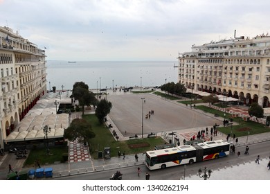 Thessaloniki, Greece - March 14 2019: Aristotelous square, cloudy day. View from above.