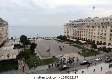 Thessaloniki, Greece - March 14 2019: Aristotelous square and Thermaikos Gulf on a cloudy day.
