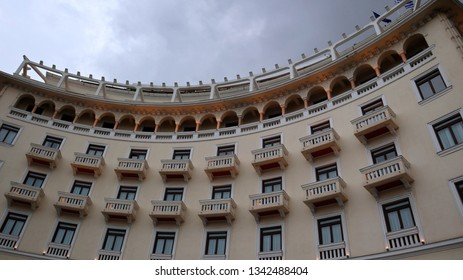 Thessaloniki, Greece - March 14 2019: Facade of an old building at Aristotelous Square, Thessaloniki, Greece.