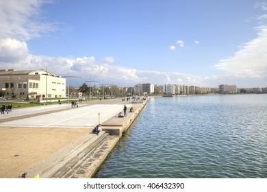 THESSALONIKI, GREECE - March 17.2016: Boulevard along a municipal embankment in the center of city