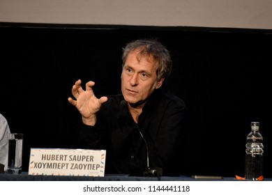 Thessaloniki, Greece - March 20, 2015. Hubert Sauper during a press conference at Thessaloniki Documentary Festival. Hubert Sauper is an Austrian documentary filmmaker, director, writer and producer.