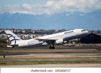 Thessaloniki, Greece - March 20, 2018. An Aegean Airlines Airbus A320 (SX-DVG) takes off from Thessaloniki International Airport.