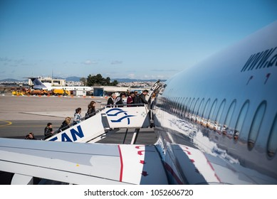 Thessaloniki, Greece - March 20, 2018. Passengers board on an Aegean Airlines Airbus A320 at Thessaloniki International Airport.