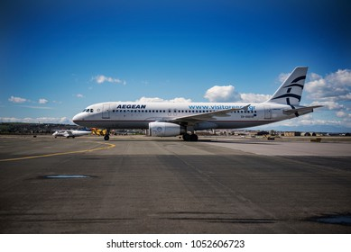 Thessaloniki, Greece - March 20, 2018. An Aegean Airlines Airbus A320 (SX-DGD) taxes at the apron of Thessaloniki International Airport.