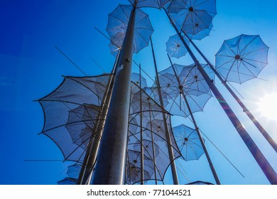 THESSALONIKI GREECE - MARCH 2017: The sculpture Umbrellas by George Zongolopoulos are located at the New Beach in Thessaloniki. Macedonia, Greece, Europe