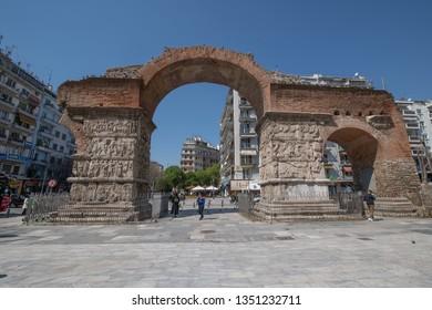 Thessaloniki, Greece - March 23, 2019:  Arch of Galerius, landmark in Thessaloniki, Greece