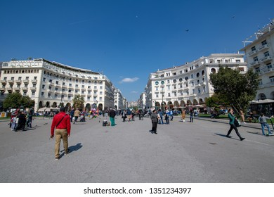 THESSALONIKI, GREECE - March 23, 2019:  Aristotelous square and Electra Palace Hotel in Thessaloniki, Greece. It is the main city square of Thessaloniki located on the city's waterfront