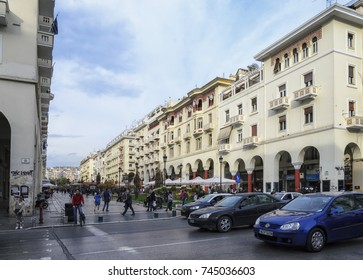 THESSALONIKI, GREECE - MARCH 26: Aristotelous Square on March 26, 2017 in Thessaloniki, Greece. Aristotelous Square is the main city square of Thessaloniki and is located on the city's waterfront.
