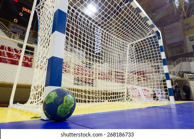 THESSALONIKI, GREECE, MARCH 27, 2015: Handball ball next to the goalpost prior to the Greek Women Cup Final handball game  Paok vs Nea Ionia