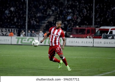 Thessaloniki, Greece - March 5, 2017. Player of Olympiakos FC Seba, in action during a soccer match between PAOK FC and Olympiakos FC at the northern Greek city of Thessaloniki.