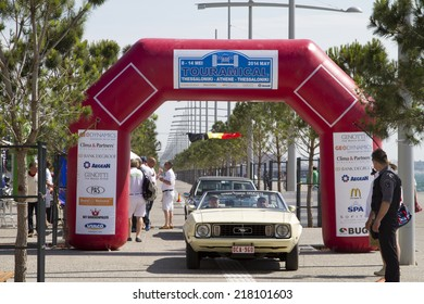 THESSALONIKI, GREECE- MAY 13, 2014: Finish line of the rally Tour Amical. A Classic Car Rally, in Thessaloniki, Greece.