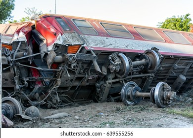 Thessaloniki, Greece - May 14, 2017: Train accident at Adendro, almost 40km west of Thessaloniki, with two confirmed dead among the passengers. The train crashed into a house after derailing.