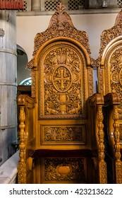 THESSALONIKI, GREECE - MAY 15, 2016: Church of Saint Demetrius (Hagios Demetrios) - main sanctuary dedicated to Saint Demetrius, the patron saint of Thessaloniki. Inside view of church.