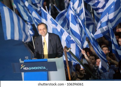 THESSALONIKI, GREECE - MAY 2: Samaras A. pre election speech to the people of Makedonia north Greece on May 2, 2012 in Thessaloniki , Greece
