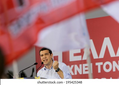 THESSALONIKI, GREECE - MAY 21, 2014: Alexis Tsipras leader of Syriza party (European Left) giving pre-election speech to the people of Macedonia north Greece on May 21, 2014 in Thessaloniki, Greece.