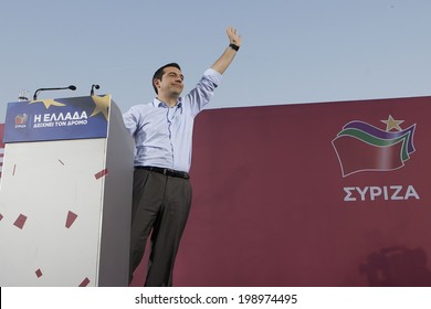 THESSALONIKI, GREECE MAY 21, 2014: Alexis Tsipras, leader of radical left party SYRIZA and European Left party candidate for EU presidency delivers a speech during the party's main pre-election rally