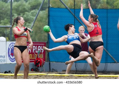 Thessaloniki, Greece - May 21, 2016: Undefined players in action during of European Beach Handball Tour - ebt Finals Thessaloniki 2016 between the teams  OVB Beach Girls vs AZS